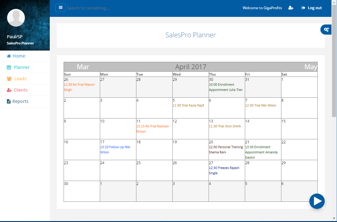 Keep Track all scheduled Appointments